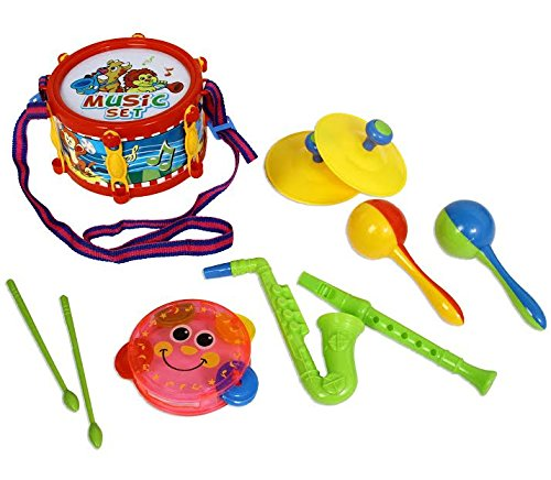 Dazzling Toys Rock Star Kids Music Set, Includes a Drum, Flute, Saxophone, Cymbol, Tambourine.