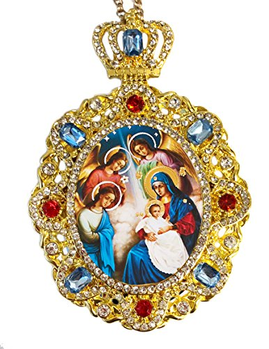Religious Gifts Jeweled Crown Nativity of Christ Icon Christmas Ornament Decoration 5 Inch