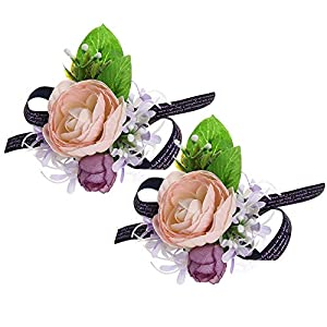 Febou Wrist Corsage Pack of 2 Wedding Bridal Wrist Flower Wristband Hand Flower for Bride Bridesmaid Perfect for Wedding, Prom, Party (A-Pink) 14