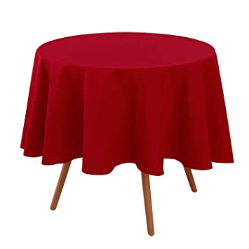 Deconovo Nappe de Table Ronde Waterproof pour Table Jardin 160 cm Rouge