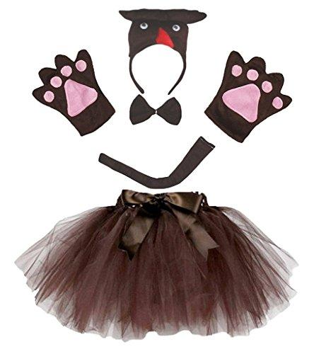 (Petitebella 3D Headband Bowtie Tail Gloves Tutu Unisex Children 5pc Girl Costume (3D Brown)