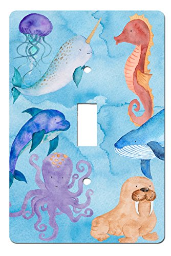 Ocean Dreams Sea Life Under Water Wonders Beach Theme Nautical Decor (Single Toggle) (Dolphin Switchplate)