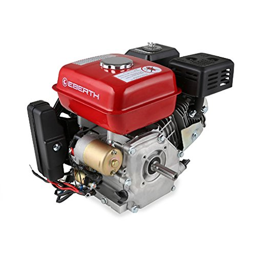 EBERTH 6,5 PS 4,8 kW Benzinmotor (E-Start, 20 mm Wellendurchmesser, Ö lmangelsicherung, 1 Zylinder, 4-Takt, luftgekü hlt, Seilzugstart, Lichtmaschine, Batterie)