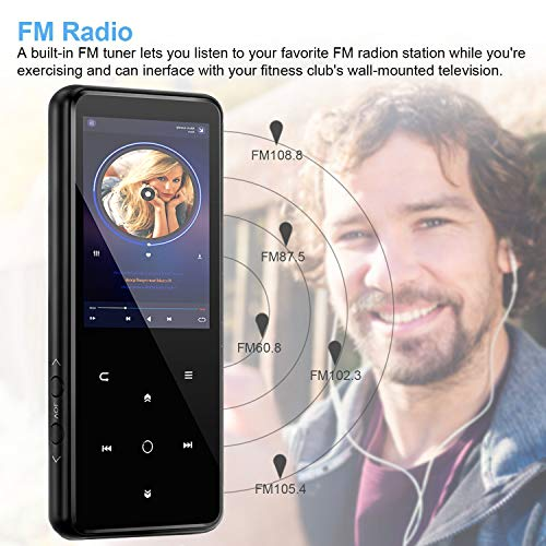 MP3 Player,PELDA Bluetooth MP3 Player,16GB MP3 Player with 2.4'' Large Screen, HiFi Lossless Music Player with Speaker,Touch Buttons,FM Radio/Recorder,16GB Come with a Wired Headphone by Pelda (Image #7)