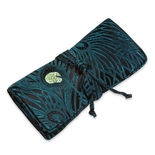 Jewelry Roll Clutch Large - Silk Brocade (Feather Teal)]()