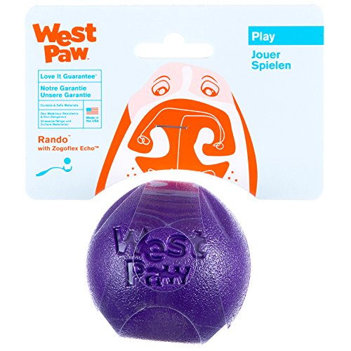 West Paw Rando Squeezy Dog Play Chew Ball Toy with Zogoflex Echo, Made in USA, Small, Eggplant