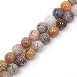 """Genuine Natural Stone Beads Bamboo Leaf Agate Round Loose Gemstone 8mm 1 Strand 15.5""""45-47pcs DIY Charm Smooth Beads for Bracelet Necklace Earrings Jewelry Making Accessories Supplier ST5"""