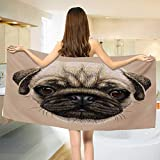 Chaneyhouse Pug,Baby Bath Towel,Detailed Portrait Drawing of a Dog Realistic Design of The Pet Animal Digital Art,Print Wrap Towels,Tan Pale Brown Size: W 10'' x L 39.5''