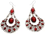 Earrings - Silver Tone and Red Large Acrylic Chandelier Earrings - Kiki's Red Flamenco Flair