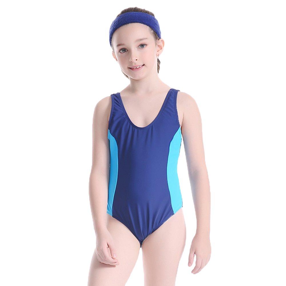 SherryDC Girls' Infinity Splice Thick Strap U-Back One Piece Swimsuit Swimwear 5ET0410