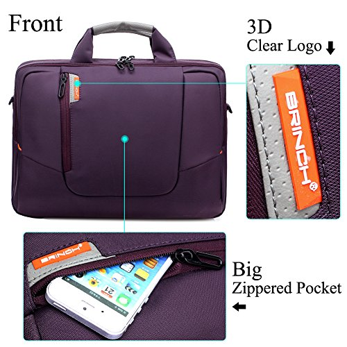 BRINCH Nylon Waterproof Laptop Case with Side Pockets for Macbook Pro Retina 15 inch Mini Asus/DELL/HP/Samsung ,15.6-Inch, Purple by BRINCH (Image #1)'
