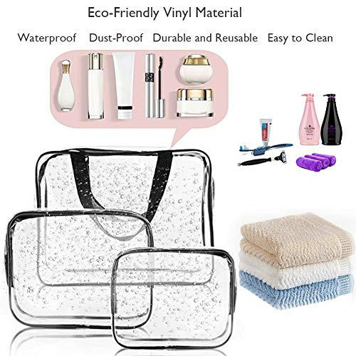 Forever Haru Clear Makeup Bags TSA Approved 6Pcs Cosmetic Makeup Bags Set Waterproof Clear PVC with Zipper Handle Portable Travel Luggage Pouch Airport Airline Vacation Organization