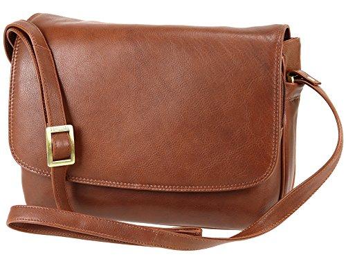 Visconti Leather Organiser Flapover Handbag / Cross-Body Bag 03190 Claudia Brown