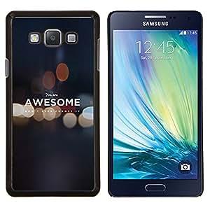 KLONGSHOP // Cubierta de piel con cierre a presión Shell trasero duro de goma Protección Caso - USTED ES IMPRESIONANTE DE MOTIVACIÓN - Samsung Galaxy A7 A7000 //