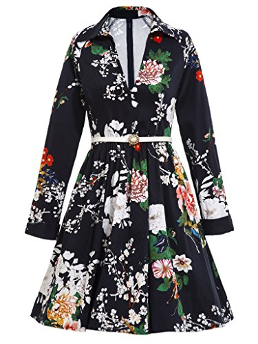 [Sisjuly Women's V Neck Lapel Long Sleeve Print Vintage Dress] (1980s Dress)