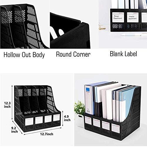 Desk File Organiser 33.4 x 31.4 x 2.6 cm 4 Compartments Sturdy Desktop Plastic Magazine File Holder Frames File Dividers File Rack for Paper Document