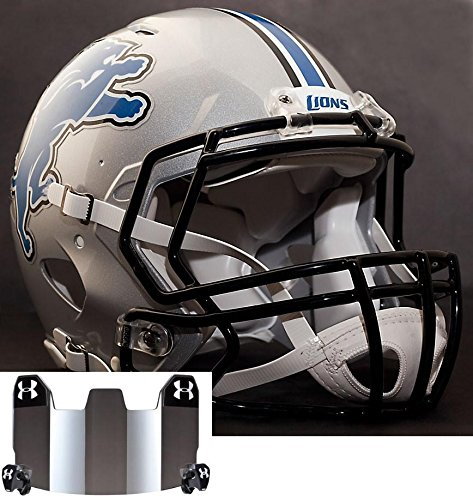 Riddell Speed DETROIT LIONS NFL AUTHENTIC Football Helmet with S2BD Football Helmet Facemask/Faceguard and MIRRORED Eye Shield/Visor by Riddell
