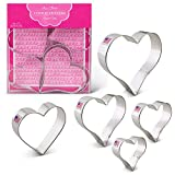 Heart Shape Cookie Cutters - 5 Piece Boxed Set - 2 5/8'', 3 1/4'', 3 3/8'', 3 5/8'', 4''