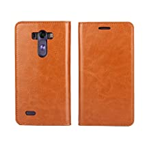LG G3 Case,iCoverCase Genuine Leather Wallet Case [Slim Fit] Folio Book Design with Stand and Card Slots Flip Case Cover for LG G3 5.5 inch(Light Brown)