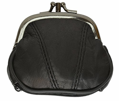 100% Leather Change Purse with Clasp Black - Lock Purse Coin