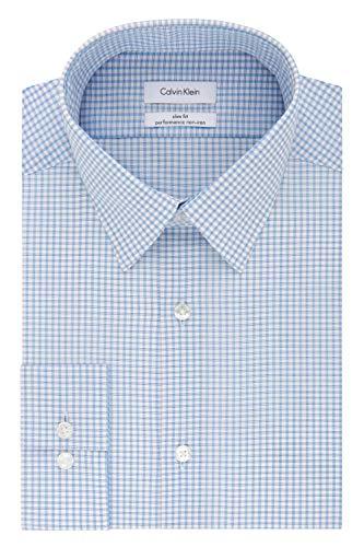 Calvin Klein Men's Dress Shirt Non Iron Stretch Slim Fit Check 1