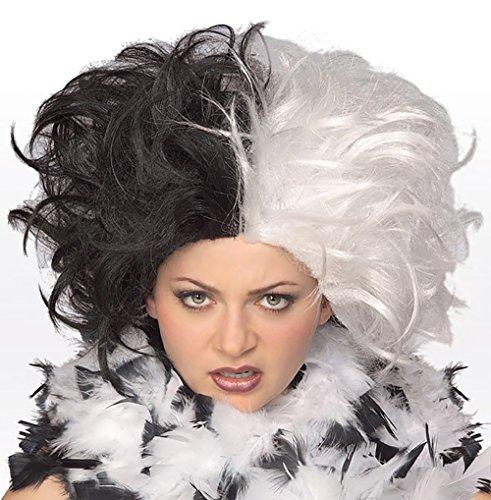 CRUELLA DE VIL Costume Wig Ms. Spot Adult DeVille Black/White 101 Dalmations (Adult Cruella De Vil Costume)