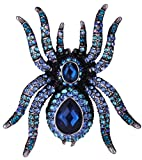 YACQ Jewelry Rhinestone Spider Stretch Ring Halloween Party Scarf Ring Buckle Clip Women