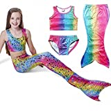 Owone Box Girls 3pcs Swimmable Mermaid Tail Costume Swimwear Princess Bikini Swimsuit 7, Rainbow, 6-7 Years