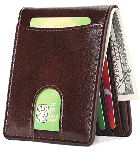 Mens Wallet Slim Front Pocket Wallet for Men Billfold with Quick Access Slot and RFID Blocking - Deep ()