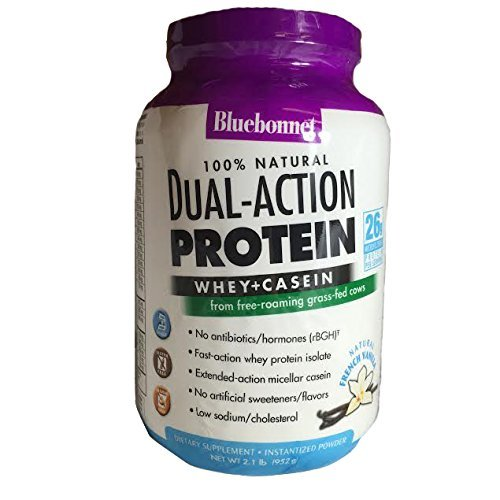 Bluebonnet Nutrition 100% Natural Dual Action Protein Powder Natural French Vanilla Flavor- 2.1 lbs - Powder