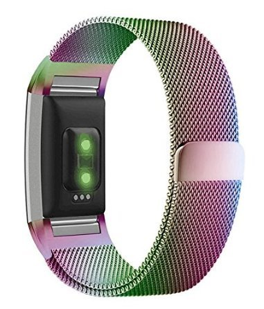 For Fitbit Charge 2 Bands - Adjustable Stainless Steel Milanese Loop Metal Replacement Accessories Bracelet Strap - Magnet Lock for Fitbit Charge 2 HR, Small (Fits 5.5''-6.8'' Wrist), Colorful by DeshyGoods