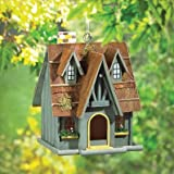 Birdhouses Thatch Roof Cottage Wooden Birdhouse For Garden Patio Decor Fairy Tale Songbird
