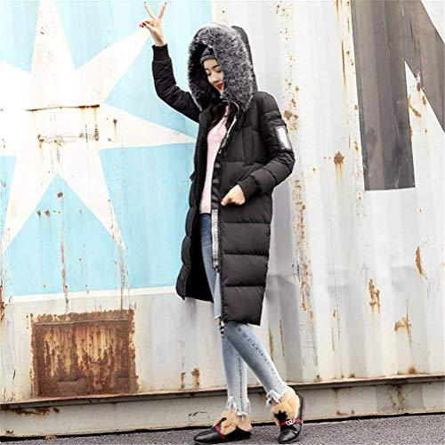 con Outwear Windbreaker Bolsillos De Larga Invierno Cuello Capucha Manga con Sólidos Chaqueta Especial Piel Hipster Caliente con Delanteros Mujer Estilo Schwarz Cremallera Colores dYxAn