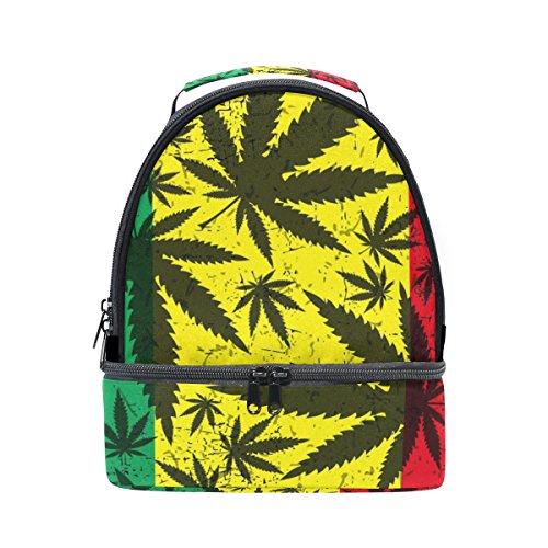 LORVIES - Bolsa de almuerzo con diseño de hoja de cannabis sobre la bandera de Rastafari, con aislamiento de doble cubierta...