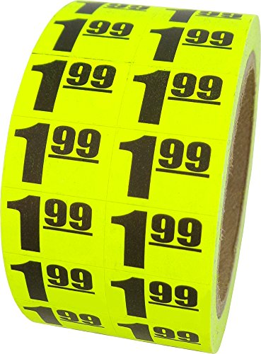 $1.99 In-Store Use Day-Glo Yellow Display Labels 3/4
