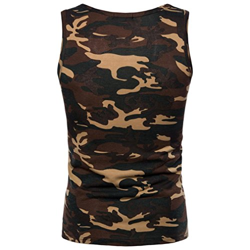 Mens Tank Top ! Charberry Mens Camouflage Sleeveless Printed Tank Top Casual Camouflage Print O Neck Sleeveless T-shirt Top Vest Blouse (US-L/CN-XL, Yellow)