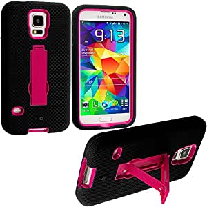 Accessory Planet(TM) Black / Hot Pink Heavy Duty Hybrid Hard/Soft Silicone Case Cover with Stand Accessory for Samsung Galaxy S5