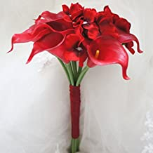 """Lily Garden Mini 15"""" Artificial Calla Lily 10 Stem Flower Bouquets (Red)"""