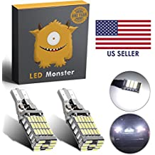 LED Monster 2-Pack Extremely Bright Backup Reverse Lights 45-SMD T10 T15 194 921, 45 Chipsets, Xenon White, 1600 Lumens, No Hyper Flash