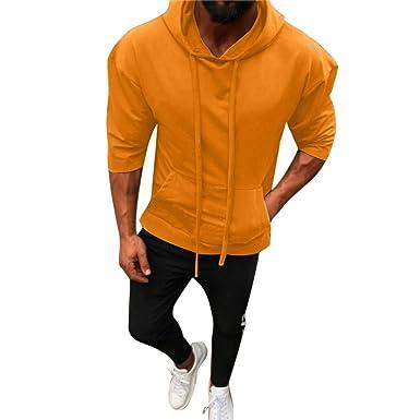 Hombres Sudadera Rovinci Moda Primavera Sólido Pullover Manga Siete Cuartos Bolsillos con Capucha Tops Blusas Camisas: Amazon.es: Ropa y accesorios