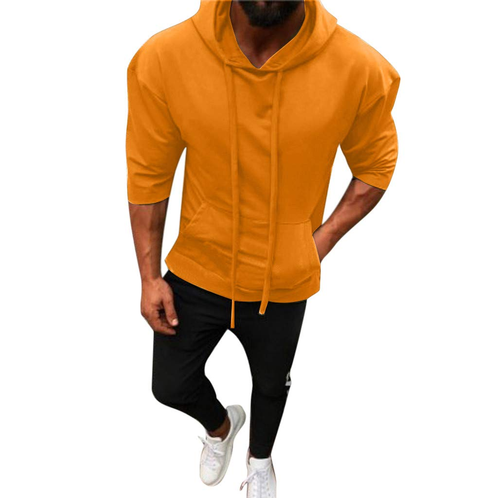 NUWFOR Men Splicing Button Pullover Seven Point Sleeve Hooded Sweatshirt Tops Blouse(Yellow,S US/M AS Bust:37.7'')