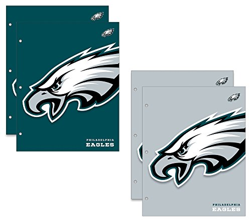 Eagles Pencil - Philadelphia Eagles NFL 2-Pocket School Folders, 4 Pack, 9.5
