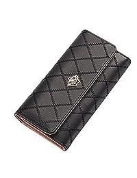 Women Clutch Purse Bag PU Leather Wallet Card Holder Fahion Lady Bag (Black)