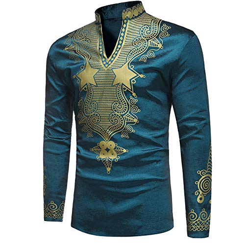 Green Survivor T-shirt - Toimothcn Men's African Style Print Long Sleeve 1/4 Zipper Dashiki Shirt Top Blouse (Green,M)