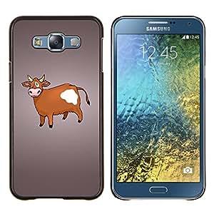 """Be-Star Único Patrón Plástico Duro Fundas Cover Cubre Hard Case Cover Para Samsung Galaxy E7 / SM-E700 ( Vaca de Brown Agricultura Animal Derechos Dibujo"""" )"""