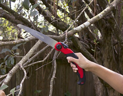 Review Heavy Duty 8 Inch Folding Pruning Hand Saw – Tri Edge Japanese Steel Blade – Pull Action – Ideal For Gardening, Tree Trimming, Camping and Hunting