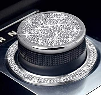 NIUHURU Car Interior Trim Bling Accessories Gear Shift Knob Crystal Decals fit for Land Rover Range Rover Evoque Jaguar XJ XE XF F-Type F-PACE I-PACE E-PACE Accessories Silver, Fit for Land Rover