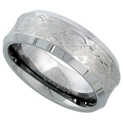 Sabrina Silver Tungsten Carbide 8 mm Concaved Wedding Band Ring Etched Celtic Dragon Pattern Beveled Edges, sizes...