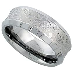 8mm Tungsten 900 TM Wedding Ring Concave Etched Celtic Dragon Pattern Beveled Edges Comfort fit, sizes 7 - 14
