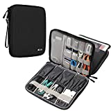 BUBM Electronics Organizer, Double Layer Electronics Bag Compatible with iPad, Cables, Plugs, External Hard Drives and More, Black